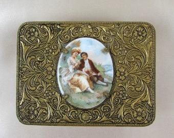 "Embossed Brass & Glass Trinket Box  Oval Porcelain Victorian Couple - 3.5"" x 2.5"" Jewelry Box, Vanity Box"