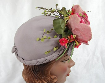 1940s Gray Tilt Hat with Flowers Braided trim