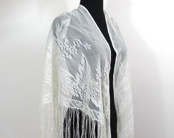 Vintage Burmel White Fringe Shawl - Lacy Floral design - 1960s polyester - formal shawl - boho hippie shawl