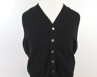 Vintage Mens Black Wool Knit West - Button front - Ribbed neck and Bottom - 1950s-60s