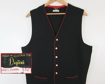 Vintage Mens Black Wool Knit Vest with red piping - Made in Austria for Daytons - L-XL
