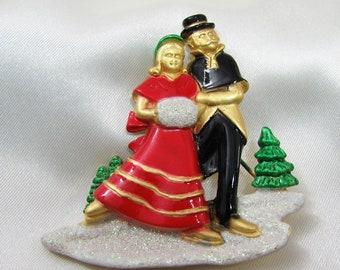 AJC signed Christmas pin - Ice Skating Couple Enamel Pin Brooch - Rare pin