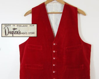 Vintage 60s Mens English Red Velvet Vest - fully lined - pearlized buttons - Daytons - L-XL