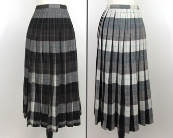 ae8f0c2ca Pendleton Turnabout Pleated Skirt - Completely Reversible - gray brown teal  plaid - 25