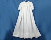 Antique long baby dress - white work lace on cotton lawn - 37 quot long - Victorian