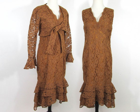 Brown Lace Sheath Dress with bolero jacket - Asymm