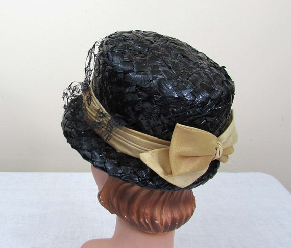 0873e13dcd9 Black Straw Bucket Hat w tan ombre band and bow faux straw