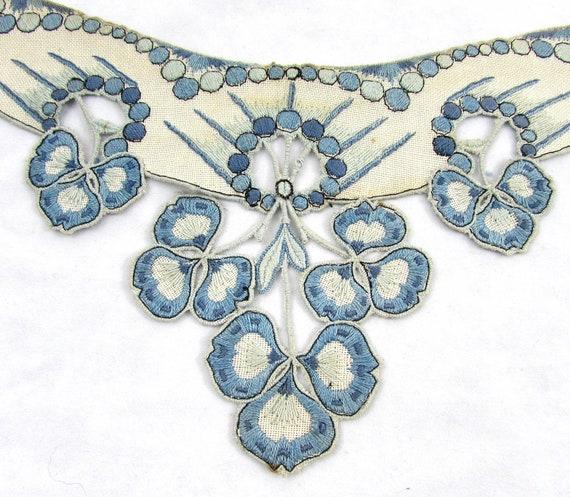 Antique collar - dress or blouse trim - Linen wit… - image 1
