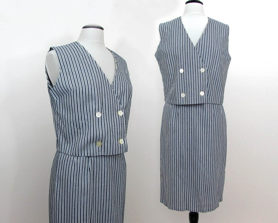 S-M Vintage 60s Vest and slim skirt Set Blue /& White Seersucker Made in Portugal
