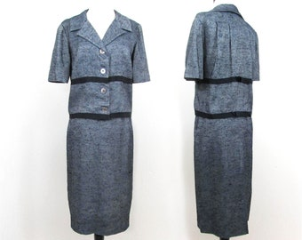 1960s Navy Blue Tweed 2 pc set - Jacket style top and slim skirt - Neiman Marcus Sm