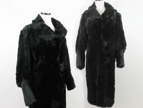 Vintage 1930s Dyed Black Coney fur (rabbit) Coat -
