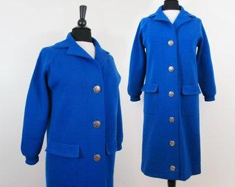 Royal Blue Wool Sweater Coat - Itallian Coltalia for Bjorkman - S - 1960s