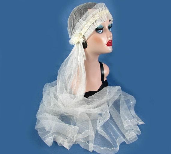 Vintage Antique Wedding Veil 1920s Juliet Cap Flap