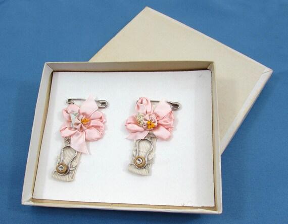 Vintage pink bow garters - Wedding garters - packa