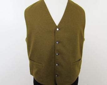 Vintage Mens Olive Green Wool Vest Fabric Front Knit Back - Daytons - L-XL
