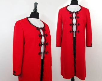 Red Knit Fabric Open Front Coat with Black Soutache Trim - 1960s - S