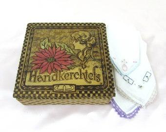 Antique Pyrography Handkerchief Box with 3 hankies - Wood burned art nouveau box