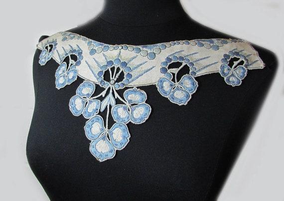 Antique collar - dress or blouse trim - Linen wit… - image 3