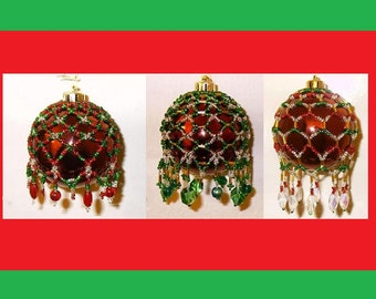 20% Off Sale - Victorian Inspired Beaded Ornament Cover Patterns - Set of Three (3) Tutorials - Bead Netting - .pdf instant download