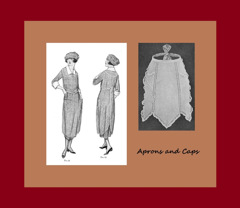 Victorian Edwardian Apron, Maid Costume & Patterns 1910s-1920s Aprons and Caps - Womans Institute of Domestic Arts & Sciences Book Reproductions - .pdf Instant Download $2.40 AT vintagedancer.com