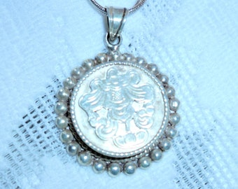 VINTAGE LOCKET NECKLACE Lovely .925 Sterling Silver Locket Buddhist Symbol  Double Chain Necklace 616bea8d1a87