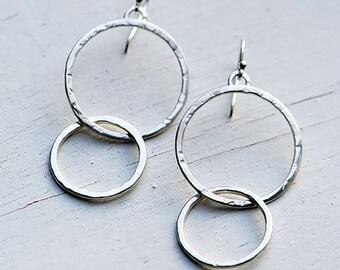 Sterling Silver Double-Hoop Earrings, Connected Hoops, Hammered Hoops, Textured Hoops, Sterling Silver Hoop Earrings, Boho Hoops, Minimalist