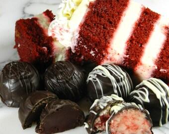 Red Velvet Truffles, Valentine Chocolates, Gifts for Her, Chocolate Truffles, Truffles, Dark Chocolate, Boxed Chocolates, Chocolate