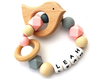 Personalized Teething Ring, Bird, Customized, Name, Girl, Baby Rattle, Silicone Teething Ring, Shower Gift, Wooden, Teether Ring, Natural