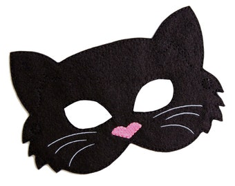 Kids Cat Mask, Black Cat Costume, Felt Mask, Kids Face Mask, Animal Mask, Halloween Costume, Pretend Play, Dress Up, Party Favors, Costume