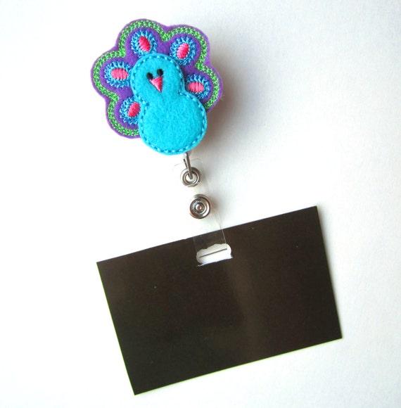 Retractable ID Badge Holder, Peacock ID Badge Reel, Nurse, Doctor, Teacher,  idpeacock32