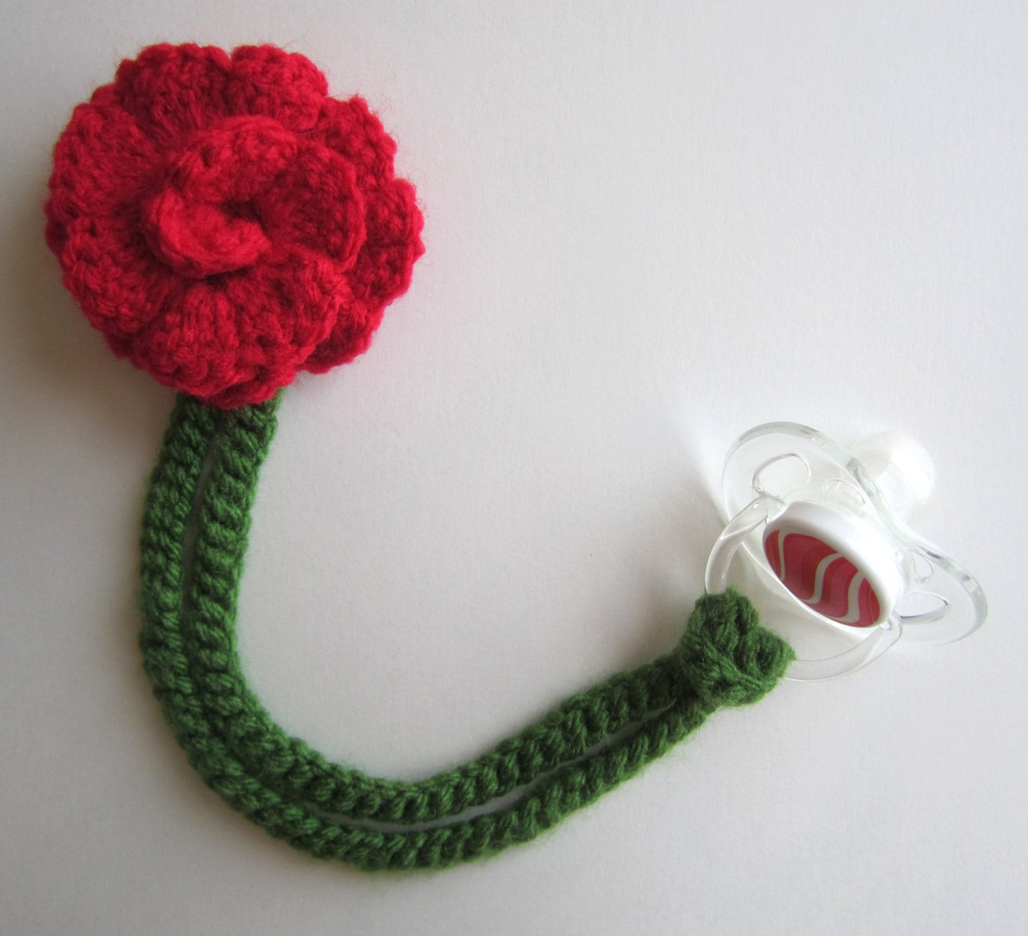 Girl Pacifier Clip Crochet Flower Pacifier Clip Baby Red Etsy