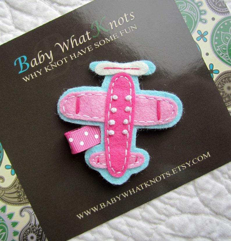 Pink Plane Hair Clip Baby Hair Clippies Girl Barrette hcplane01 Airplane Hair Clip