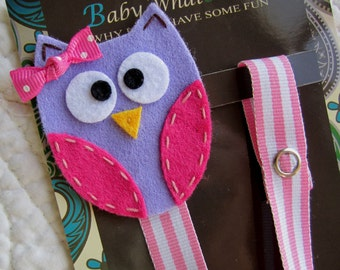 Girl Pacifier Clip, Owl Pacifier Clip, Purple Owl Pacifier Clip, Pacifier Holder, pcowl06