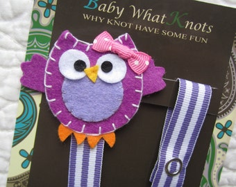Girl Pacifier Clip, Purple Owl Pacifier Clip,  Owl Pacifier Holder, pcowl17