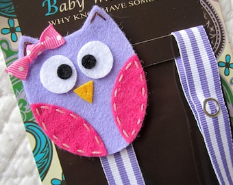 Girl Pacifier Clip, Owl Pacifier Clip, Purple Owl Pacifier Clip, Pacifier Holder pcowl10