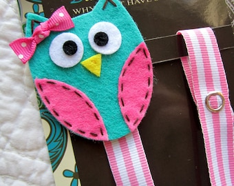 Girl Pacifier Clip, Owl Pacifier Clip, Blue Owl Pacifier Clip, Pacifier Holder pcowl09