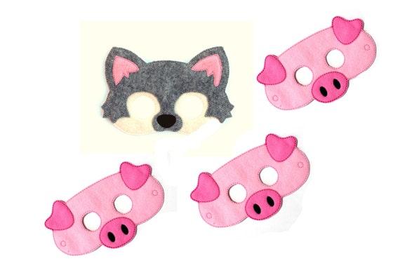 Kinder große Wolf Maske und drei Schweine Maske Set Wolf Maske | Etsy