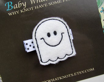 Ghost Hair Clip, Halloween Hair Clip, Baby Hair Clippies, Girl Barrette, hcholiday04