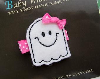Girl Ghost Hair Clip, Halloween Hair Clip, Baby Hair Clippies, Girl Barrette, hcholiday05