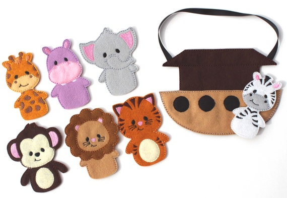 Marionette da dito Arca di Noè, borsa occupato, gioco viaggi, animali, Bibbia, finta di giocare, elefante, favore di partito, occupato Board, giocare