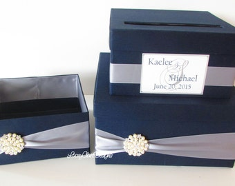 Wedding Card Box, Money Box, and Program Box SET, Navy and Pewter Wedding, Box for Cards, Bathroom Amenities Box, Card Holder, Custom