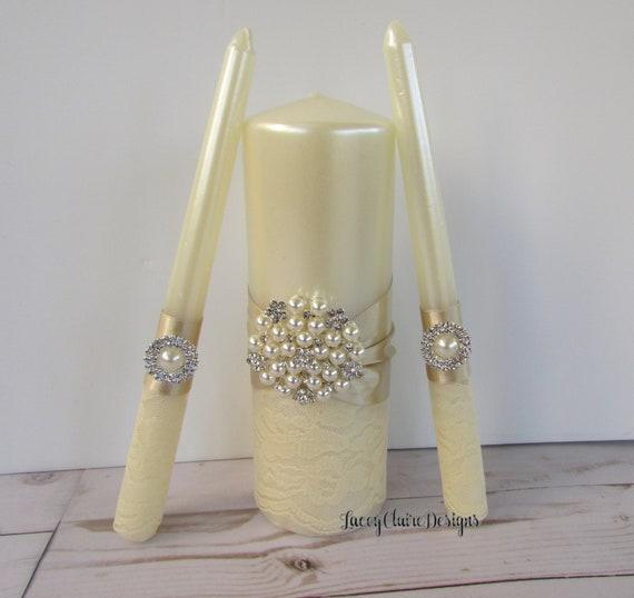 Goldene Hochzeit Einheit Kerzen Set Spitze Hochzeitskerzen Personalisierte Hochzeitskerzen Bling Kerzen Elfenbein Einheit Kerzen