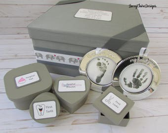 Baby Keepsake Box, Baby Memory Box, Baby Gift, Baby Shower Box, Christening gift, Elephant Theme - Custom Made