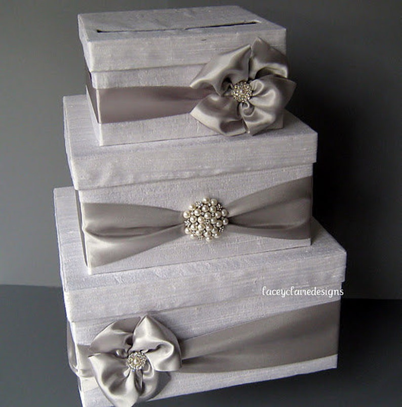 White And Silver Wedding Card Box Money Box Gift Card Box Holder Card Holder For Wedding Gift Table Card Box Envelope Box Custom