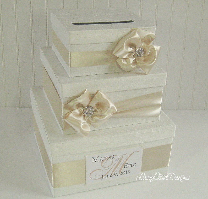 Wedding Gift Card Money Box Holder Card Holder Envelope Box Container For Cards Ivory And Cream Custom Made