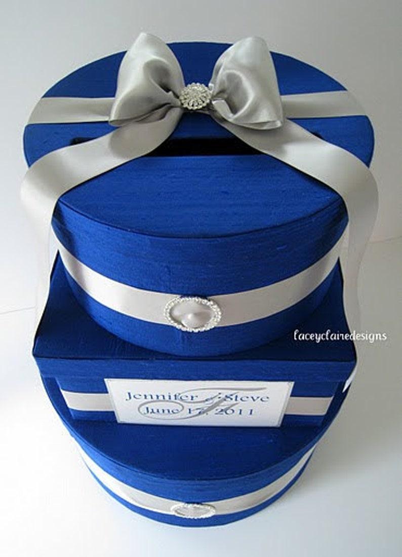 wedding gift box card holder royal blue silver custom made