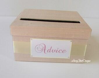 Advice Box, Wedding Box, Suggestions Box, Well Wishes Holder  - Custom Made