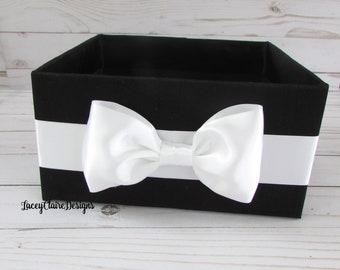 Wedding Bathroom Box, Men's Bathroom Basket, Black Tie Decor, Container for Programs, Toiletries Holder, Bow Tie Program Box, Custom
