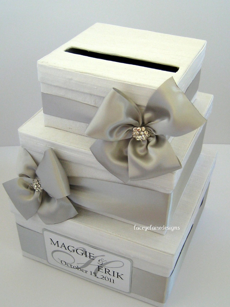 Wedding Card Box Money Card Box Gift Card Box Card Holder White Wedding Box Silver Wedding Card Holder Cards Post Box Custom