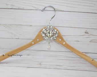Wedding Hanger, Bridal Dress Hanger, Bridal Party Hangers, Bridesmaid Dress Hanger, Bling Rhinestone Hanger, Swarovski Crystal, Custom Made